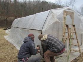 Stapling greenhouse drip tape