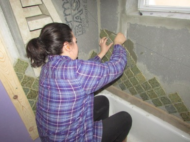 Sis-in-law Amy helping us tile.