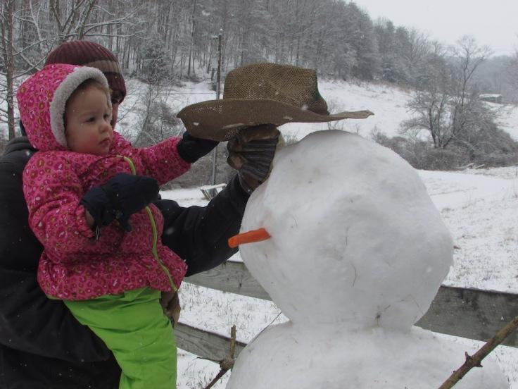putting hat on snowman
