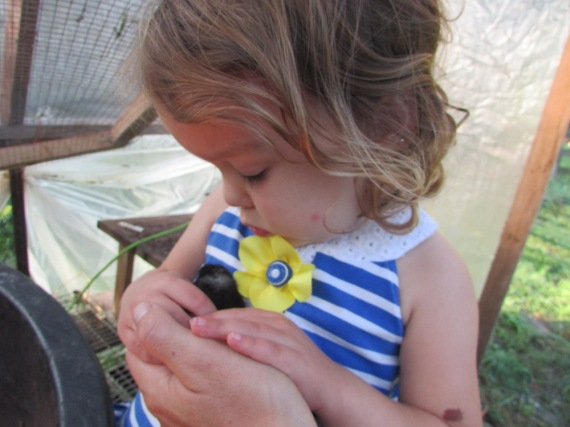 Anabel holding chick